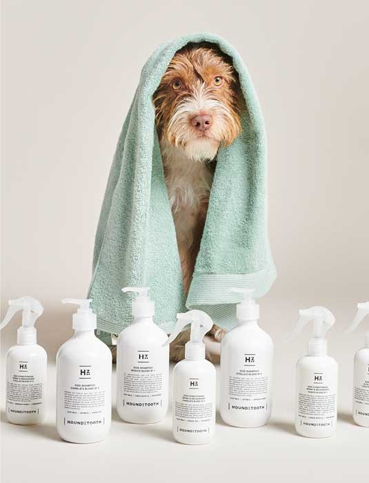 Image of Bo At Bathing With Natural Care Line Of Houndztooth