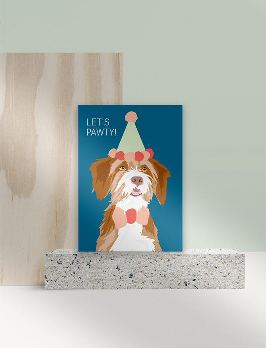 GREETING CARD Let's Pawty